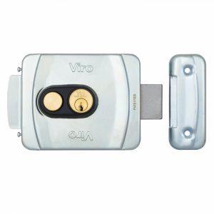 Фото 14 - Замок электромеханический VIRO V9083.0793.P BS50/80мм T1/T2 12VAC NC CYL 3KEY GATE накладной, с кнопкой SS открывание внутрь.