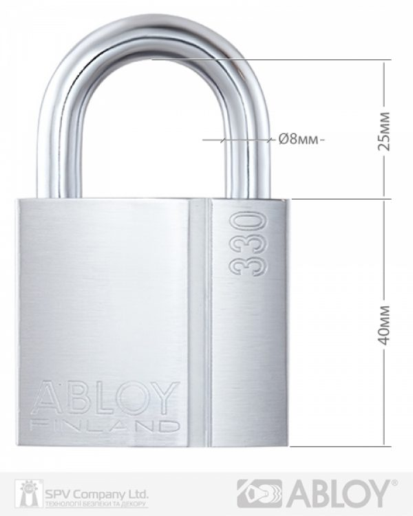 Фото 10 - Замок навесной ABLOY PL330 CLASSIC 2KEY CLS C NR shackle 25мм 8мм BOX.