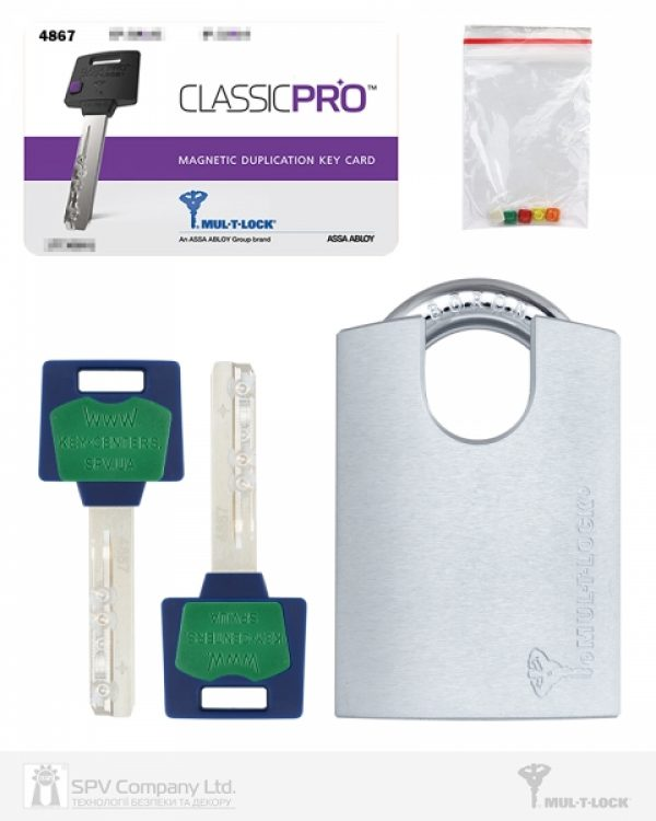 Фото 3 - Замок навесной MUL-T-LOCK G55P *ClassicPro 4867 2KEY DND BLUE INS NR shackle 10мм 23мм BOX M.