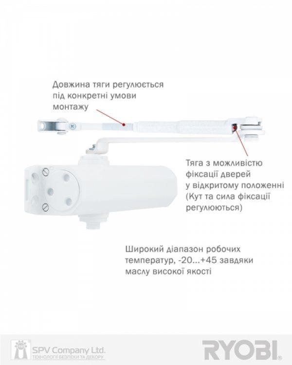 Фото 12 - Доводчик накладной RYOBI 2000 DS-2055V GLOSSY WHITE BC STD HO ARM EN 3/4/5 до 100кг 1250мм.