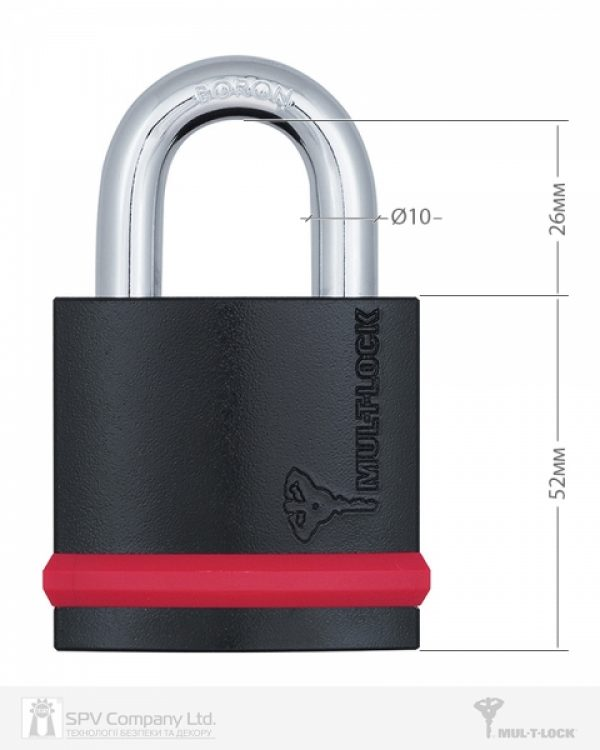 Фото 9 - Замок навесной MUL-T-LOCK NE10G CLASSIC 064 3KEY ARC GREY INS NR shackle 26мм 10мм BOX M.