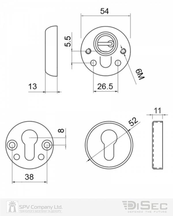 Фото 2 - Протектор DISEC BD54 DIN ROUND 13мм Латунь PVD 3клас 2 Комплект.