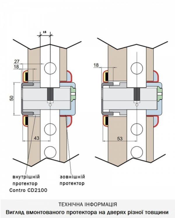 Фото 4 - Протектор DISEC CONTRO CD2100 DIN OVAL 30/40мм Хром мат 3клас T Внутренний, регулируемый.