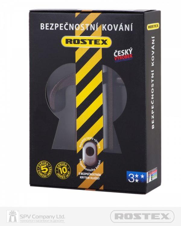 Фото 5 - Фурнитура защитная ROSTEX 802 R fix-mov PZ PLATE 72мм Фарба коричнева антік 40-45мм 3клас Knob/804 BROWN Комплект.