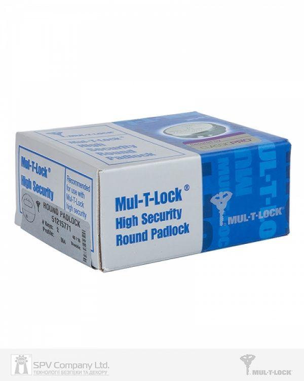 Фото 4 - Замок навесной MUL-T-LOCK HOCKEY PUCK *ClassicPro 4867 2KEY DND3D BLUE INS SLID shackle 10мм BOX M.