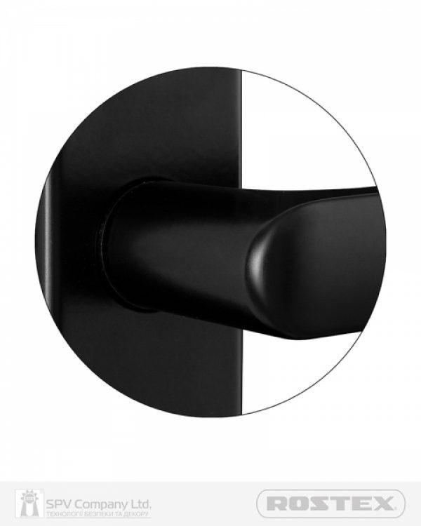 Фото 8 - Фурнитура защитная ROSTEX 802 R fix-mov PZ PLATE 85мм Фарба чорна 38-55мм 3клас Hranate/804 BLACK MAT Комплект.