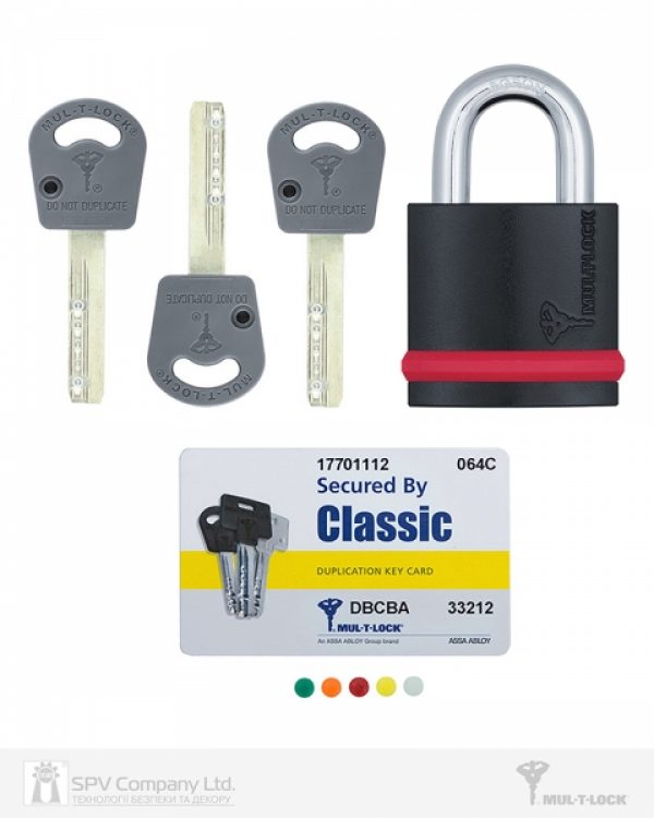 Фото 3 - Замок навесной MUL-T-LOCK NE10G CLASSIC 064 3KEY ARC GREY INS NR shackle 26мм 10мм BOX M.