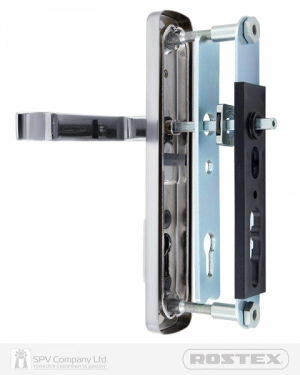 Фото 9 - Фурнитура защитная ROSTEX *ASTRA R mov-mov DIN PLATE 90мм Хром полірований 22мм 38-55мм 3клас Astra CR Комплект.
