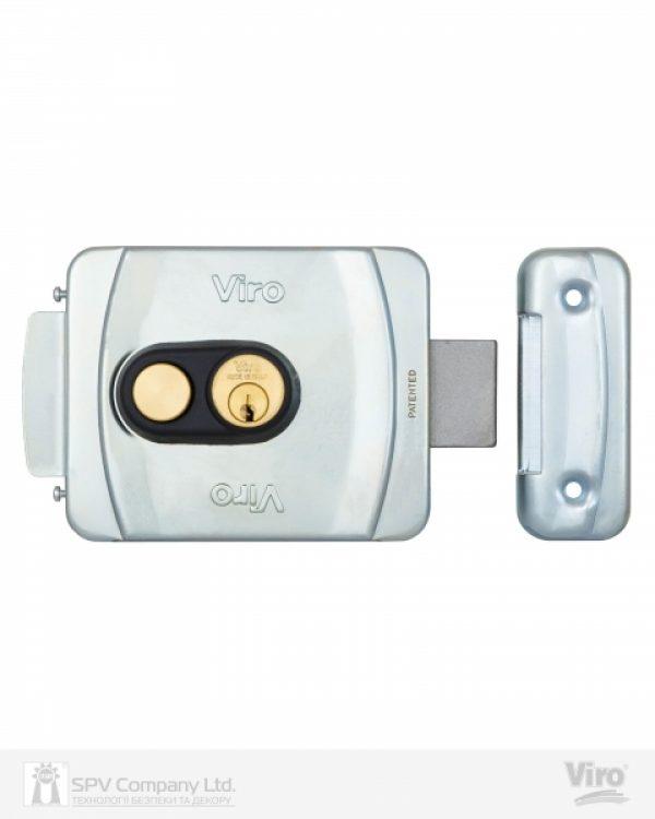 Фото 1 - Замок электромеханический VIRO V9083.0794P BS50/80мм T1/T2 12VAC NC CYL 3KEY GATE накладной, с кнопкой SS открывание внутрь.