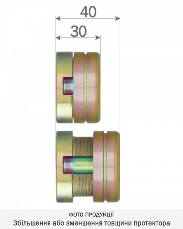 Фото 2 - Протектор DISEC CONTRO CD2100 DIN OVAL 30/40мм Латунь мат 3клас TT Внутренний, регулируемый.