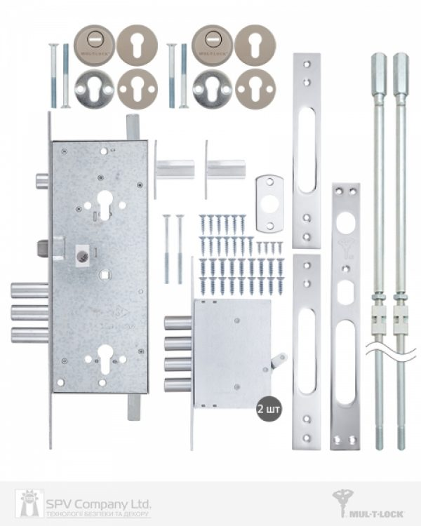 Фото 6 - Замок врезной MUL-T-LOCK 3-WAY DIN+DIN 415G CR SATIN NICKEL UNIV ВЅ63мм 2 protectors SP.