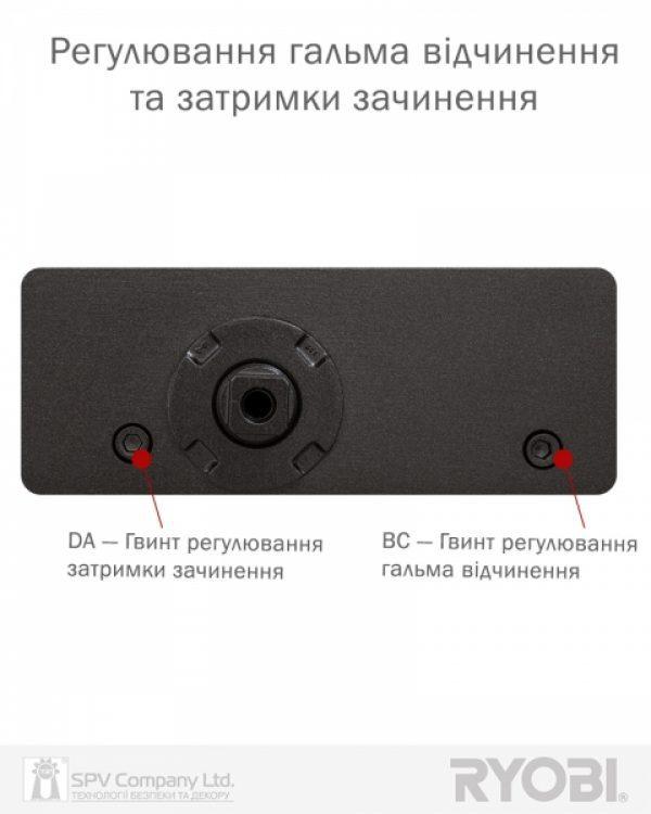 Фото 10 - Доводчик накладной RYOBI 3550 DS-3550 DARK BRONZE BC/DA STD HO ARM EN 2-5 до 100кг 1250мм.