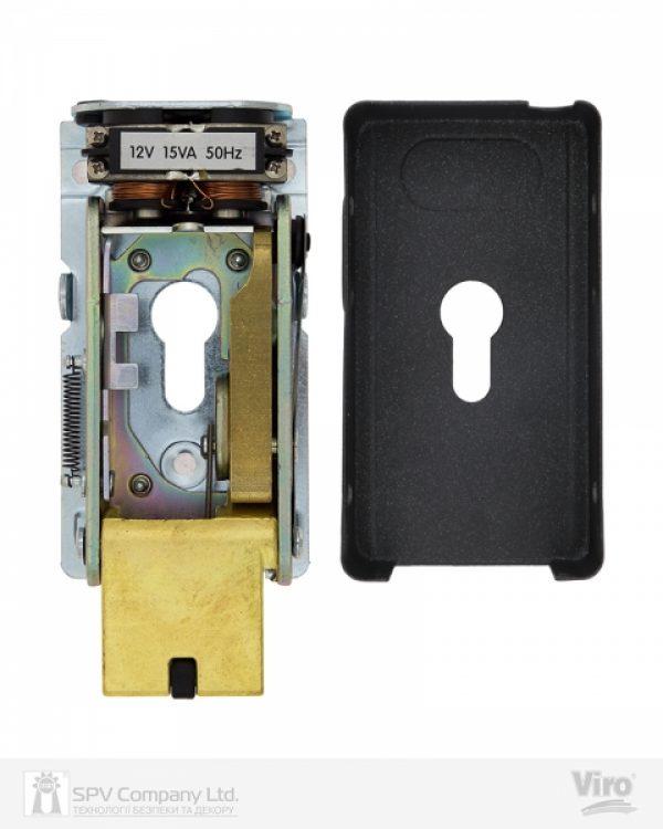 Фото 4 - Замок электромеханический VIRO V06 ВЅ70мм T1/T2 DIN 12VAC NC GATE накладной V96 BLACK открывание внутрь.