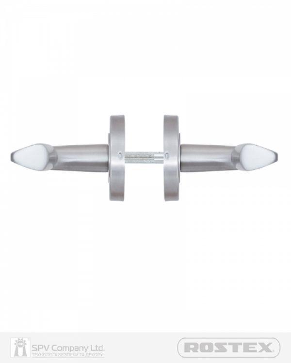 Фото 3 - Ручка дверная ROSTEX PARMA ES52 mov-mov ROUND Нерж.сталь мат 38-55мм универсальное Parma NEREZ MAT Комплект.