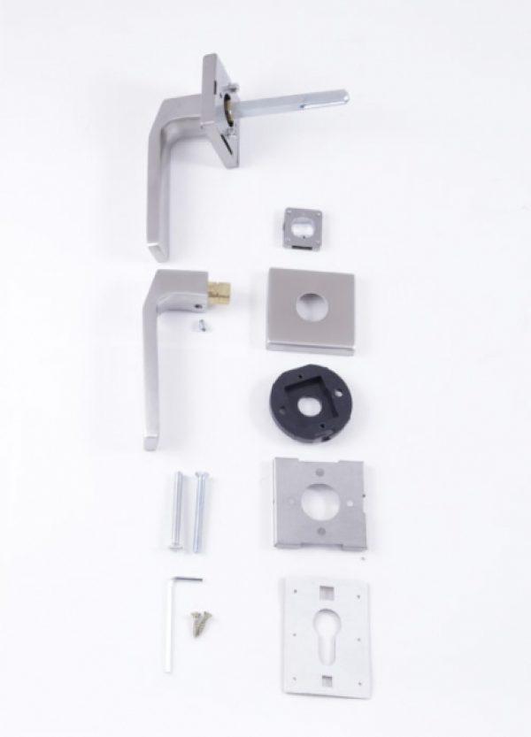 Фото 3 - Ручка дверная ROSTEX QUADRUM H58 mov-mov SQUARE Нерж.сталь мат 38-45мм насквозь Treviso NEREZ MAT Комплект.
