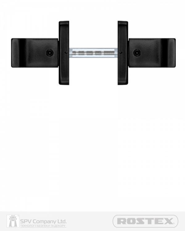 Фото 3 - Ручка дверная ROSTEX RAVENA H53 mov-mov SQUARE Фарба чорна 38-52мм насквозь Ravena BLACK MAT Комплект.