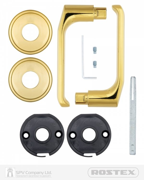 Фото 3 - Ручка дверная ROSTEX BARYT SN55 mov-mov ROUND Титан PVD 38-45мм накладные Baryt TI Комплект, OEM.
