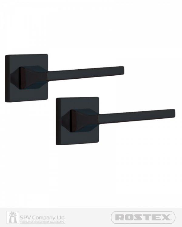 Фото 1 - Ручка дверная ROSTEX KIRA H56 mov-mov SQUARE Фарба чорна 38-45мм универсальное Kira BLACK MAT Комплект.