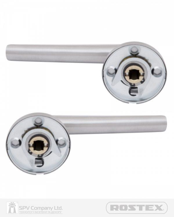Фото 8 - Ручка дверная ROSTEX PARMA ES52 mov-mov ROUND Нерж.сталь мат 38-55мм универсальное Parma NEREZ MAT Комплект.