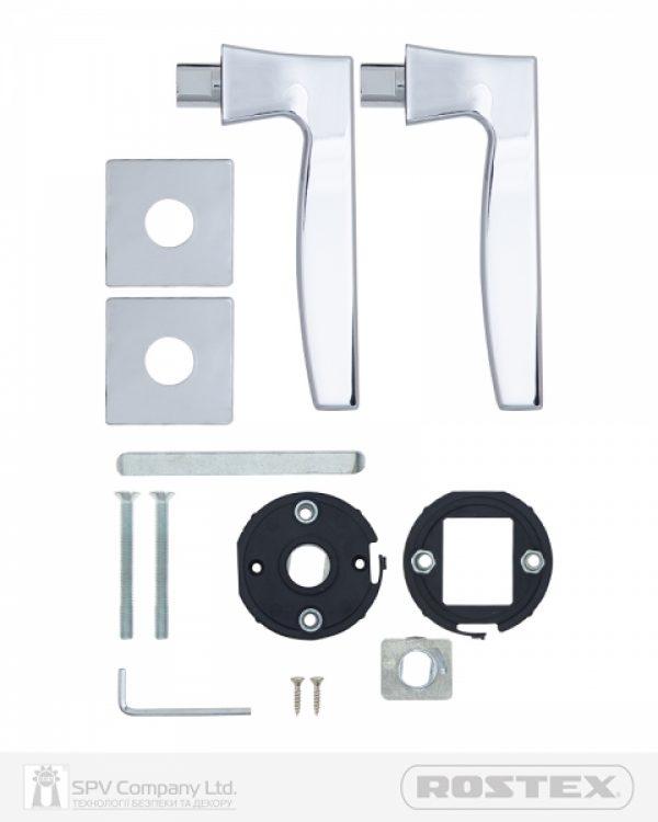 Фото 5 - Ручка дверная ROSTEX KIRA H56 mov-mov SQUARE Хром полірований 50-55мм универсальное Kira CR Комплект.