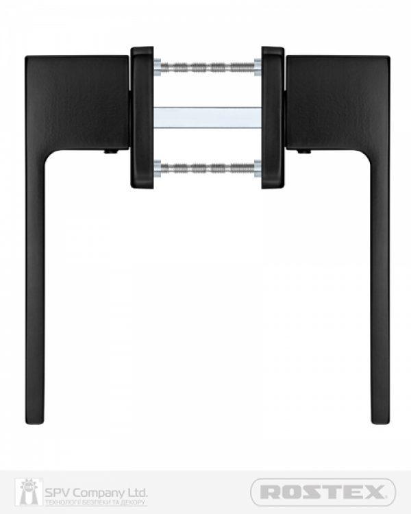 Фото 10 - Ручка дверная ROSTEX RAVENA H53 mov-mov SQUARE Фарба чорна 38-52мм насквозь Ravena BLACK MAT Комплект.
