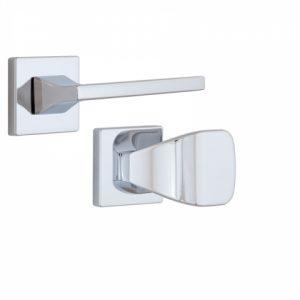 Фото 16 - Ручка дверная ROSTEX KIRA H56 fix-mov SQUARE Хром полірований 50-55мм универсальное Kira CR Комплект.