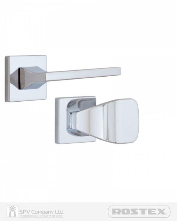 Фото 1 - Ручка дверная ROSTEX KIRA H56 fix-mov SQUARE Хром полірований 50-55мм универсальное Kira CR Комплект.