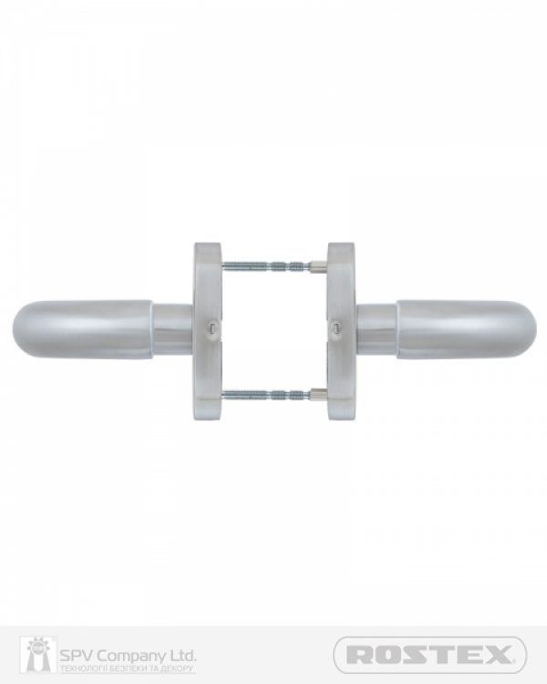 Фото 5 - Ручка дверная ROSTEX ALBACETE ES32 mov-mov OVAL Нерж.сталь мат 38-45мм накладные Albacete NEREZ MAT Комплект.