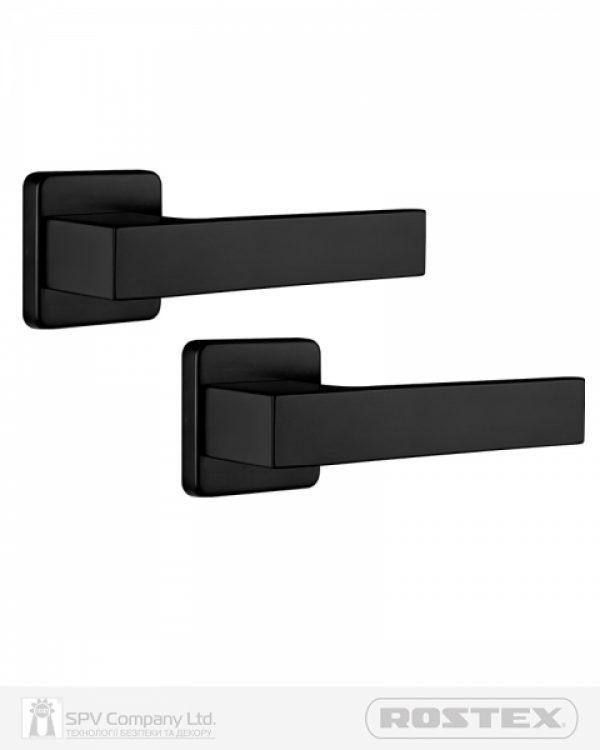 Фото 1 - Ручка дверная ROSTEX RAVENA H53 mov-mov SQUARE Фарба чорна 38-52мм насквозь Ravena BLACK MAT Комплект.