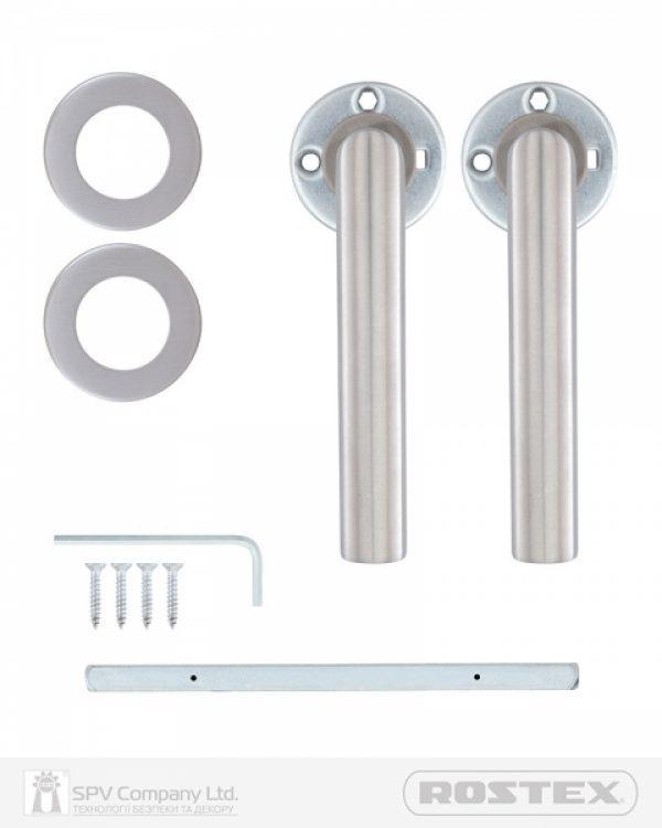 Фото 2 - Ручка дверная ROSTEX VIGO ES52 mov-mov ROUND Нерж.сталь мат 70-80мм универсальное Vigo NEREZ MAT Комплект.